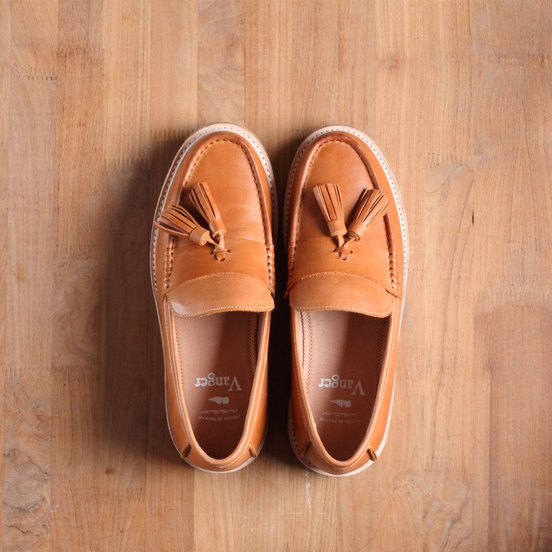 Vanger elegant beauty ‧ full thick bottom suede loafers shoes Va200 brown