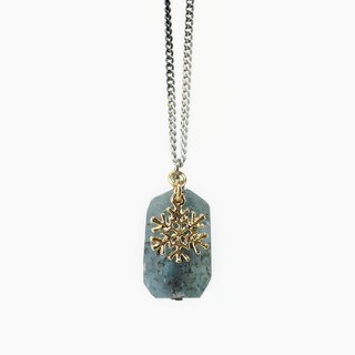 Raw Kyanite Stone Pendant Necklace with Snowflake Charm, Winter Inspired Jewelry