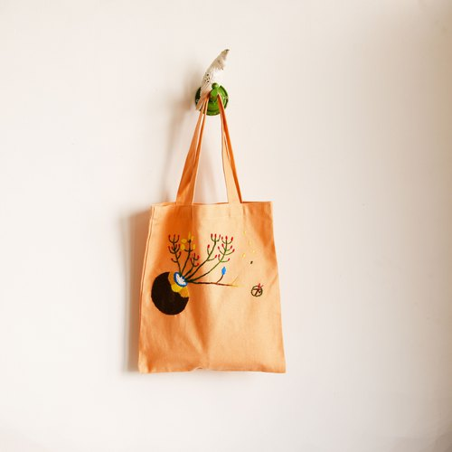 An autumn hand made embroidery shopping bags