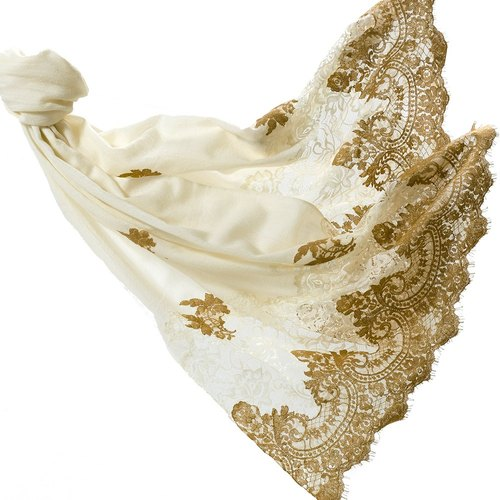 Angel Woolen Indian Pashmina handmade cashmere lace shawl - Jennifer gorgeous enjoyable
