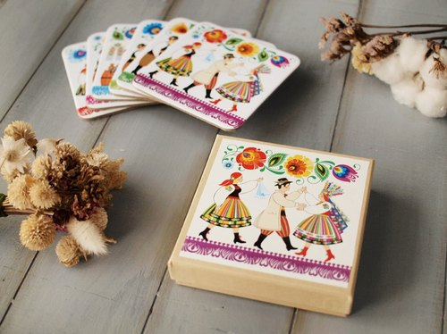 Folkstar totem traditional Polish wedding coasters into six groups