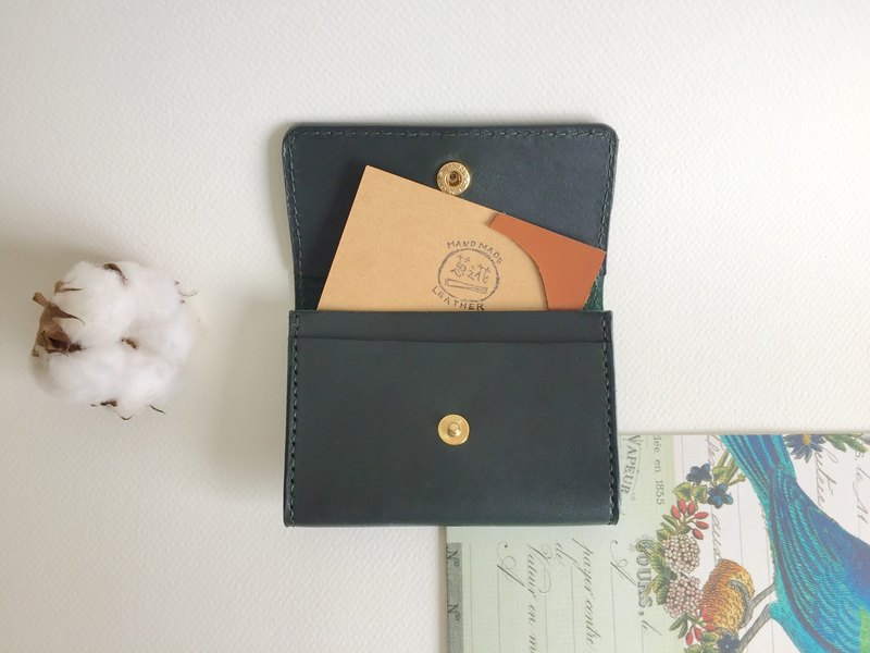 Graduation gift / low-key green card holder, business card holder leather hand-sewn