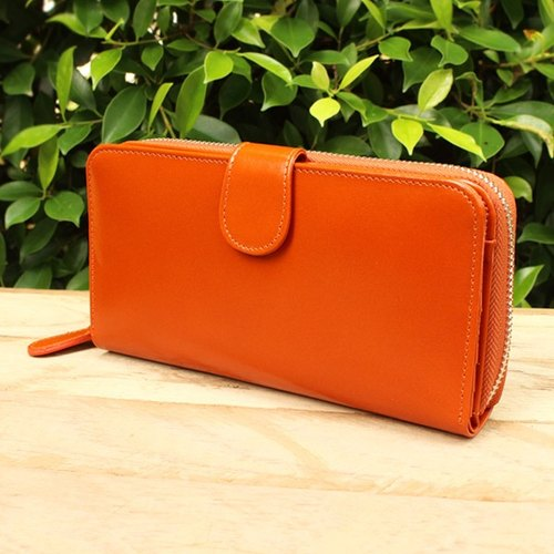 Leather Wallet - Zip Around Plus - Orange (Genuine Cow Leather) / Long Wallet