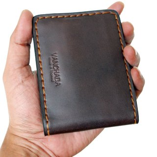 กระเป๋าผู้ชาย Wallet Money Clip Bi-fold V3 Rusty Dark Brown Handmade