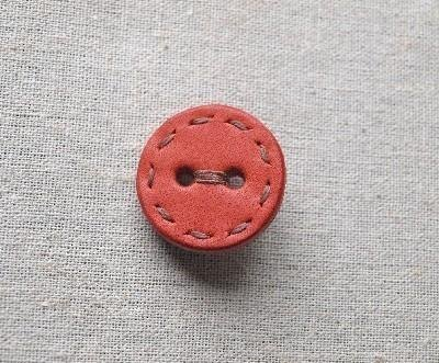 Button Brooch Pink Orange (Red)