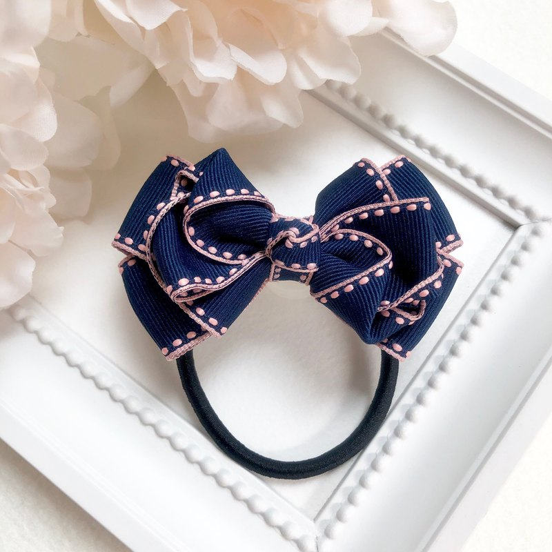 Jumper ribbon multi-layer bow / navy
