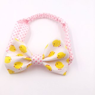 White chick with red stitching bow hairband