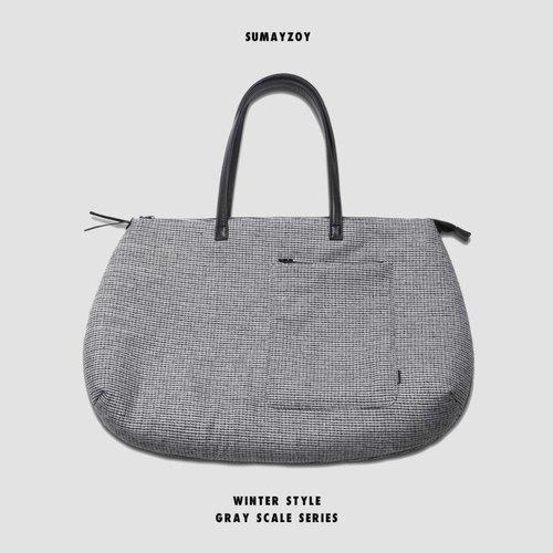 SUMAYZOY vol.2 GRAY SCALE grayscale retro vintage leather tote bag shoulder bag