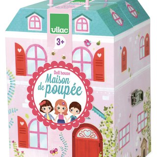 "Vilac Doll House with 13 Wooden Accessories ""Maison de Poupee"""