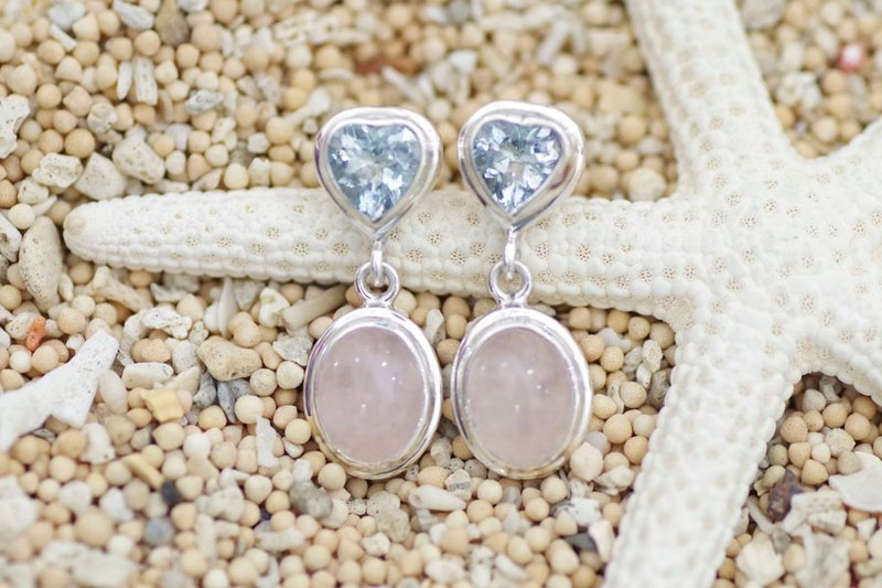 Silver earrings aquamarine and rose quartz
