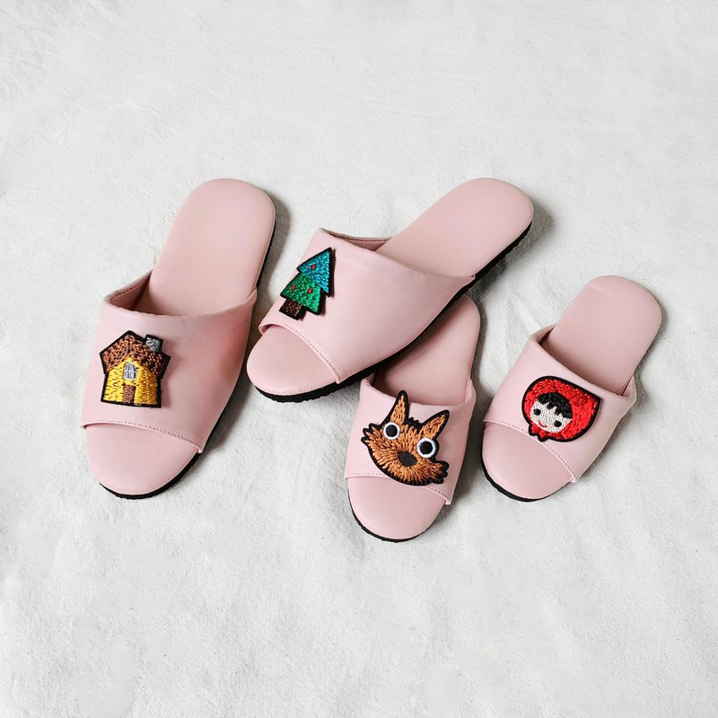 Embroidered Cap Indoor Slippers-Cream Soft Pink Little Red Riding Hood and Big Wild Wolf (optional pattern)