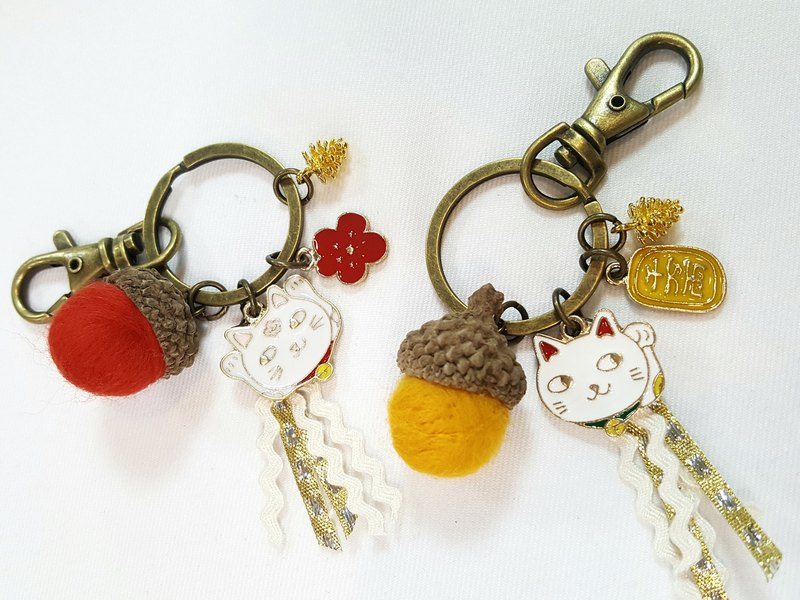 Paris * Le Bonheun. Happy forest. Lucky cat. Lucky cat. Wool felt acorn. Pine cone key ring strap