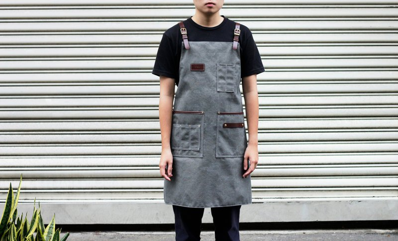 Staff work apron retro red brown leather gray washed distressed canvas