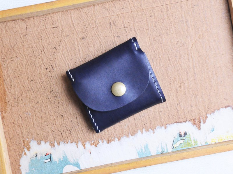Classic Box Coin Purse - Indigo NAVY Stitching Leather Material Bag Purse Italian Vegetable Tart
