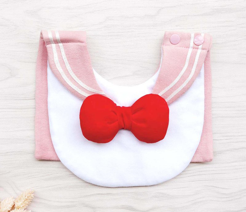 DOMOMO sailor collar (tender pink) cute baby female warrior style saliva towel bib