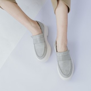 [Show products] Clear bottom Simple and comfortable Soft leather Casual shoes Gray