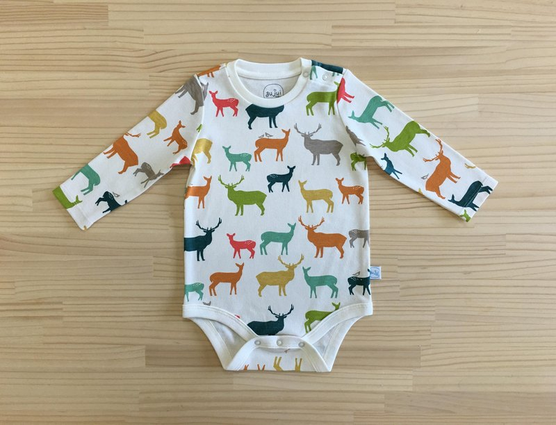 gujui love elk (color) - Organic cotton long sleeve package fart clothing 6 ~ 12M