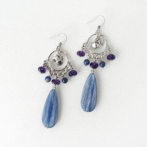 Blue Kyanite Stone Chandelier Statement Earrings