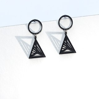 【String Art】3D Printed Geometrical Pyramid with Cylindrical  Earrings