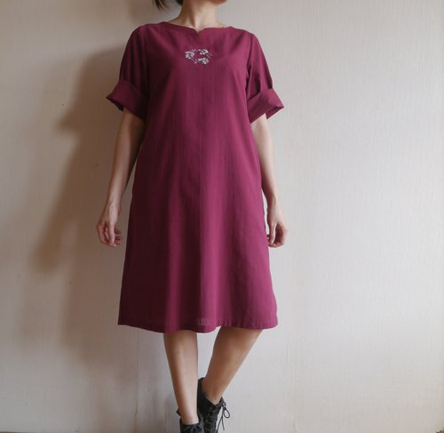 Flower hand embroidery thin cotton dress