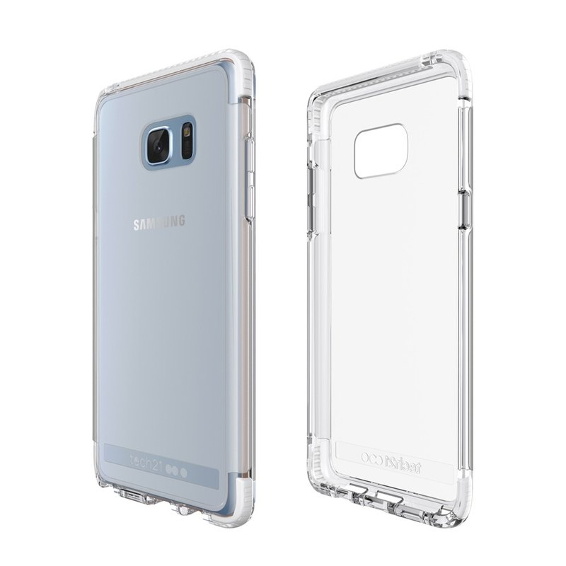 British super Tech21 Impact Evo Frame Samsung Note 7 crash hard transparent protective shell - White (5055517363600)
