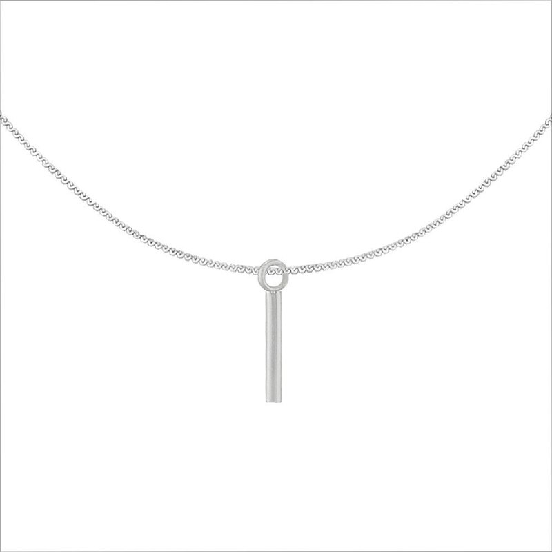 Simple One-Line Steel Necklace-Steel