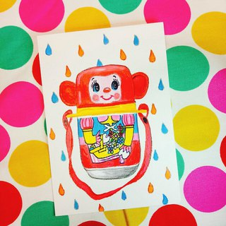 Showa Toys Hand-painted Postcard - Monkey Kettle