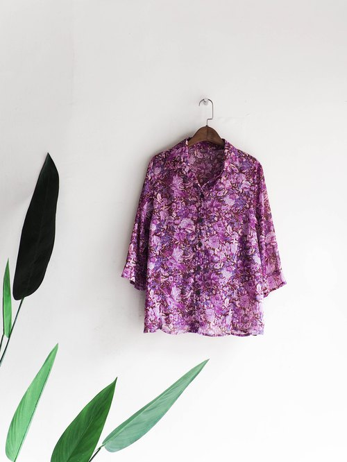 Kawashima purple light purple spring flowers dream park garden silk spinning shirt shirt oversize vintage