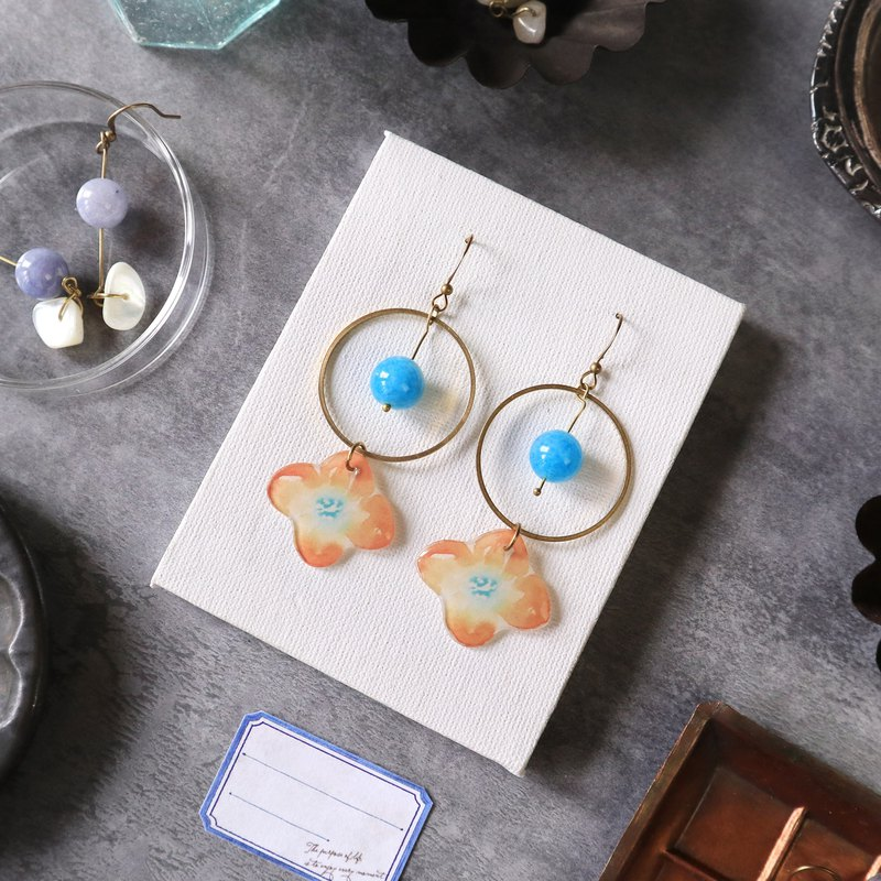 Flower collection book handmade earrings - light water blue stone can be changed