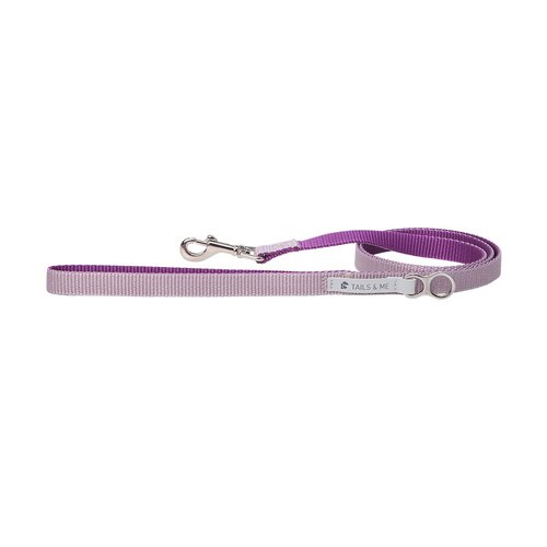 [tail and me] classic nylon belt leash purple/grey purple M