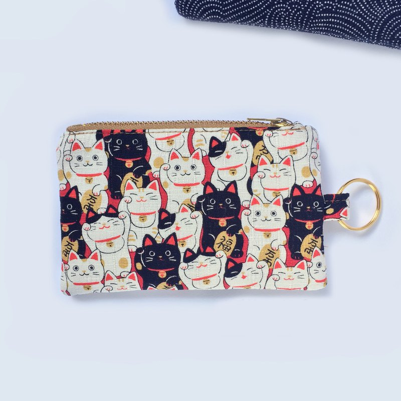 Coin Purse Keychain, Japanese Lucky Cat, Maneki Neko