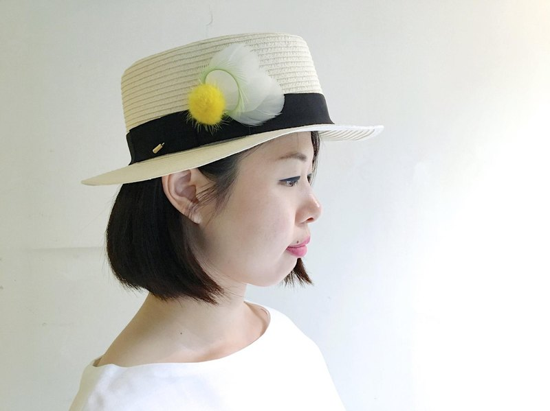 Hyde Park adventure - white lined yellow mink ball feather hat hat multi-purpose needle