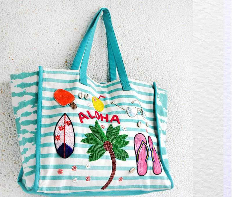 Handbag travel bag beach bag *ALOHA light blue green