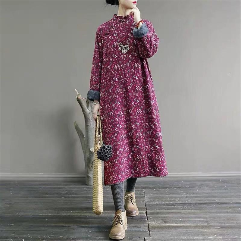 Original winter new plus velvet thickening dress retro cotton robe loose printing Chinese stand collar cotton coat
