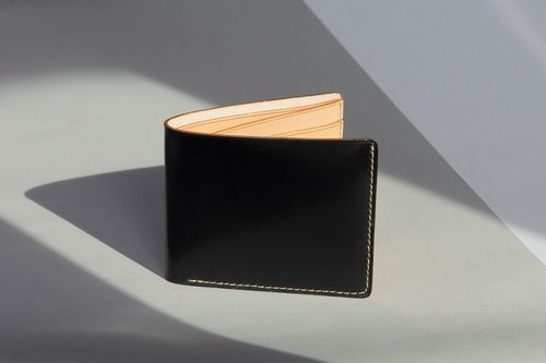 ALEX- MINIMAL HIGH QUALITY COW LEATHER FROM FRANCE SHORT WALLET- BLACK