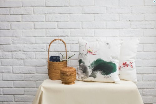 Cotton Pillow Cover with Hand-Painted Lotus Flowers