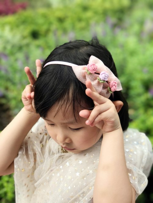 Hand-woven elegant pink butterfly girl hair band BH068