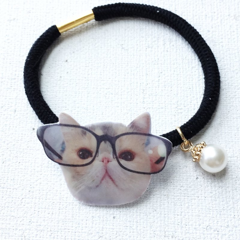 Exotic Cat Jojo in Glasses Handmade 2 ways Elastic  & Bracelet