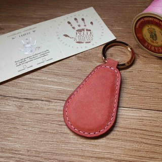 Pueblo matte leather leisure card chip pendant - key ring B section - pink