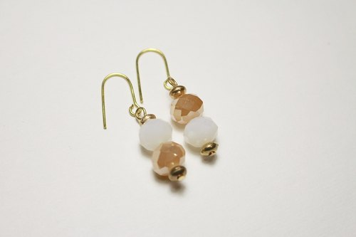 // Glass Crystal Bead Series Earrings yellow 栌 protein // micro-discount