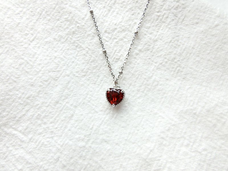 Garnet 925 sterling silver love cake side necklace