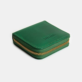 Square zip coin purse / card / banknote Buttero vegetable tanned leather pine flower green - GSW01GN