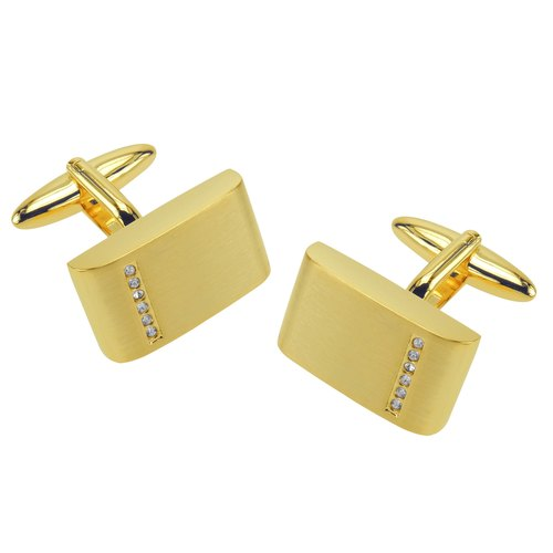 Brushed Gold Crystal Cufflinks