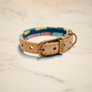 Dog big cat S number collar yellow dotted body hand-painted wind can add purchase tag can be on the leash