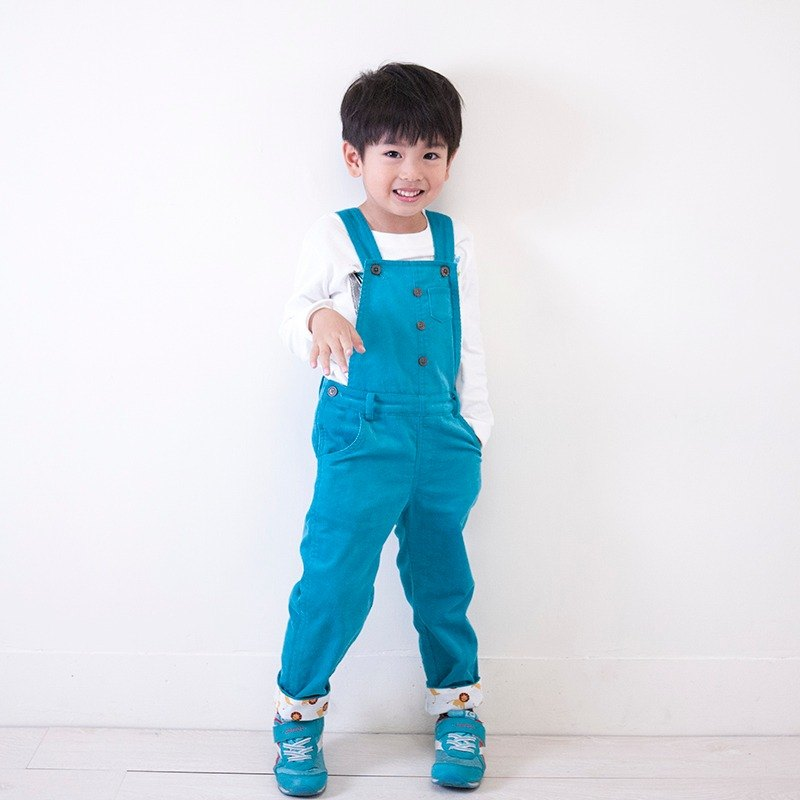 Candy corduroy suspenders _ blue green _ child models