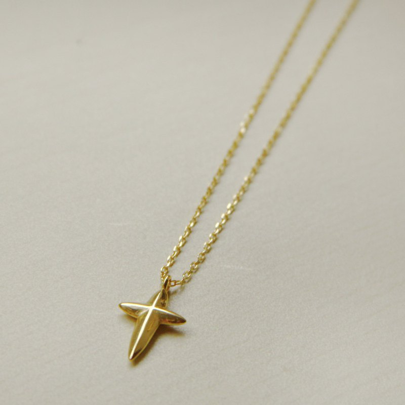 Cross Ray Necklace [925 Sterling Silver] Gold Necklace [Cone Chain]