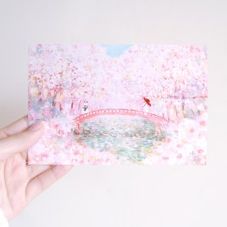 Japanese bunny cherry blossom illustration card postcard