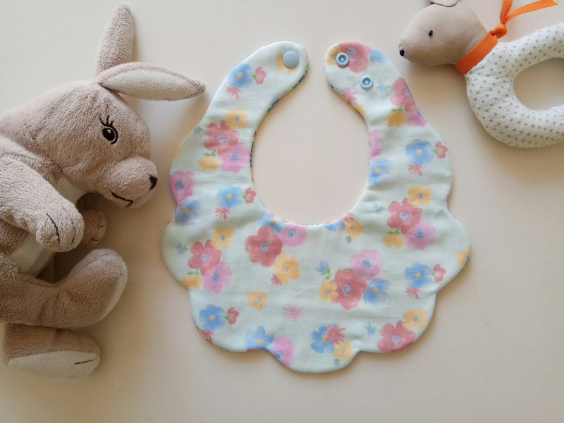Japanese cotton gauze light blue watercolor flower cotton yarn cloud bib baby bib