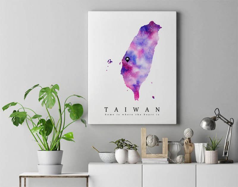 Taiwan & Australia Map Watercolor Art Print. Custom Listing for abc1506412cba