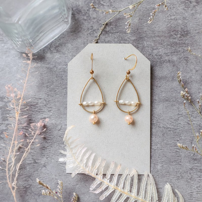 Natural Stone Geometric Brass Series Earrings - Wedding Blessing